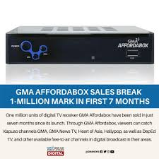 GMA Affordabox Pangasinan - GMA Network hits another milestone with one  million units of its digital TV receiver GMA Affordabox sold in just seven  months since its launch. This 2021, GMA Network