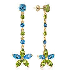 blue topaz peridot daisy chain drop earrings in 9ct gold