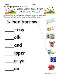 Printable phonics worksheets for kids. Beginning Sounds W X Y Z Worksheet Have Fun Teaching