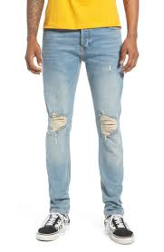 Light Jeans Ripped Stretch Skinny Fit Jeans