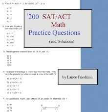 200 sat act math practice questions and solutions