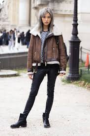 ankle booties jeans shearling jacket striped tshirt