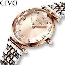<b>CIVO Fashion Luxury</b> Watch <b>Women</b> Waterproof Red Wine Leather ...