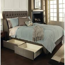 bedroom Upholstered Platform Storage Drawers King And Headboard