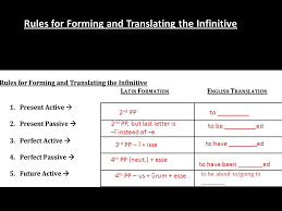 Latin Infinitives Chart Quiz 2 Present Tense Formation And Translation Ppt Download