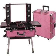 professional makeup case lights mirror large rolling