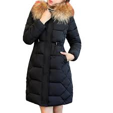 fashion winter jacket with fur collar warm hooded female womens winter coat