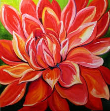 dahlia red flower art by laurie justus pace