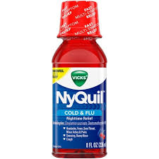Vicks Nyquil Nighttime Cold Flu Symptom Relief Relives Aches Fever Sore Throat Sneezing Runny Nose Cough 8 Fl Oz Cherry Flavor