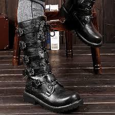 men black punk rock boots goth ankle mid calf lace up biker leather buckle