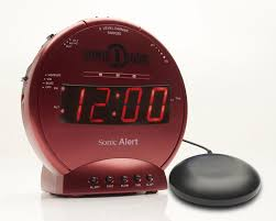 sonic alarm clock and bed shaker red