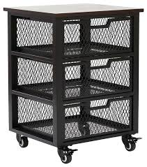 rolling carts for office. Office Carts Star Products Garret Black 3 Drawer Rolling Cart With Espresso Wood Top Fully . For