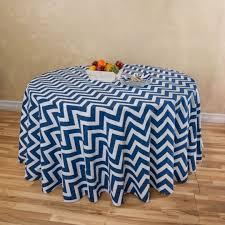 chevron round cotton tablecloth navy blue white