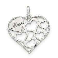 925 sterling silver polished and textured mom engraved heart shaped pendant com