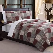 Mountain Home Ridgecrest II Red Fawn Patchwork 3-piece Quilt Set ... & Mountain Home Ridgecrest II Red Fawn Patchwork 3-piece Quilt Set Adamdwight.com