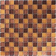 Glas Mosaikfliesen Braun Gold Glitzer - PL78131m
