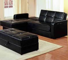 distinctive solid black leather tufted sectional sleeper sofa with chaise including rectangular black leather storage ottoman
