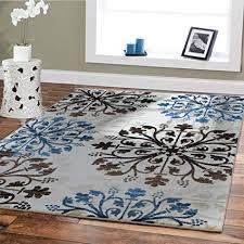 Image Unavailable Amazon.com : Premium Soft Rugs For Living Room Luxury 5x8 Cream Blue