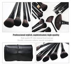 get ations emylike makeup brushes studio quality 32 pcs black rod makeup brush cosmetic set kit withleather roll