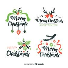 Hand Drawn Christmas Labels With Ribbons Vector Free Download