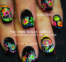 Day of the Dead Nail Art | Pac Man Sugar Skull Nails Design ...
