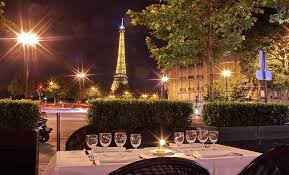 dining with eiffel tower view. chez francis dining with eiffel tower view