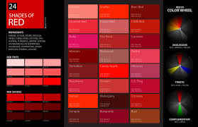 Red Color Chart Shades Of Red Color Palette And Chart With Color Names And