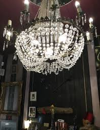 and they had a large chandelier by the fire place it looks great but of course i always look at these and want to take them apart for the glass pieces for