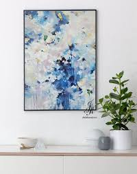 oversize blue abstract art prints on