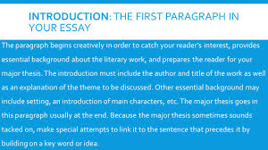 a guide to writing the literary analysis essay introduction the introduction the first paragraph in your essay iuml130nbsp the paragraph begins creatively in order to