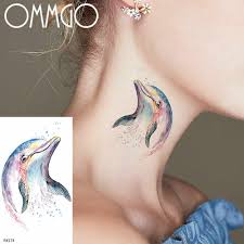 Ommgo Watercolor Dolphin Temporary Tattoos Sticker For Women Body Art Tattoo Kids Fake Waterproof Tatoos Cartoon Neck Hands