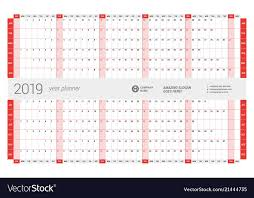 Yearly Calendar Planner Template Yearly Wall Calendar Planner Template For 2019 Vector Image