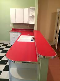 retro countertops for the i went with red self edge laminate and added 1 1 4
