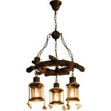 Loft Vintage Kronleuchter Kreative Antik Holz Anhänger Lampe Hanfseil 3flammig Rund Glas Metall Bronze Dekorativer