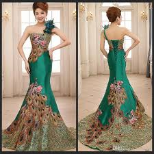 Mermaid Dress Pattern Impressive Gorgeous One Shoulder Green Mermaid Evening Dresses Peacock Pattern