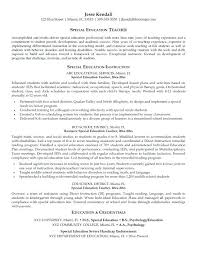 Teacher Objective Resume Special Education Teaching Resume Examples