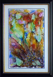 abstract art sunken treasure by margaret frost contact margaret to view watercolour on synthetic paper framed 61 x 86 cm