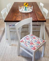 reupholstered dining room chairs red white blue flower pattern