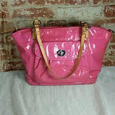 Coach Op Art Leah Embossed Leather Pink Tote