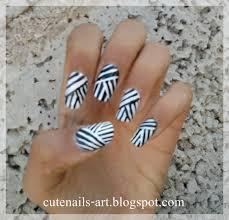 cutenails-art: weaving lines nail art design/black and white