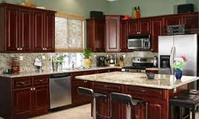 Small Picture Color theme idea for kitchen dark cherry wood cabinets with a