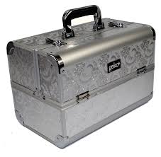 geko 1 piece vanity case makeup box silver leaf design amazon co uk kitchen home