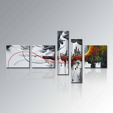 china handpainted group  piece modern framed home decor canvas