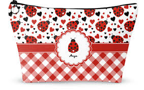 ladybugs gingham makeup bags personalized