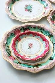 Pink Flower Paper Plates Paper Plates And Cups Pastel Party Plates 8 Pack Idmusik Info