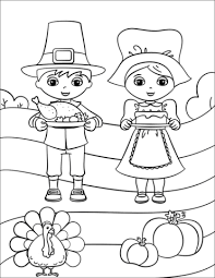 Cute Pilgrim Boy And Girl Coloring Page Free Printable Coloring Pages