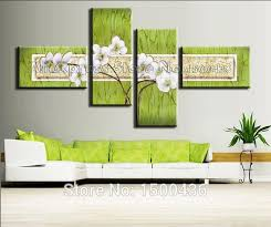 handpainted abstract white flowers thick textured oil painting 4 panel modern wall art decor green canvas on mint green canvas wall art with handpainted abstract white flowers thick textured oil painting 4