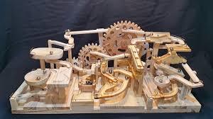 marble machine triple gears lift three blocks marble race wood marble machine