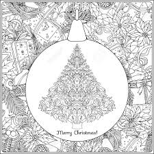 クリスマス ツリーとクリスマス リースの背景に装飾的なグッズで装飾品概要図面の着色のページ大人のた