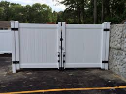 Vinyl fence double gate Poly Vinyl White Solid Privacy Vinyl Dumpster Enclosure And 12 Wide Double Gate With Gate Wheels Install By Snk Fence Pinterest White Solid Privacy Vinyl Dumpster Enclosure And 12 Wide Double